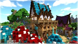 Minecraft: Building with the NEW Nether Blocks Medieval Fantasy Village Timelapse YouTube