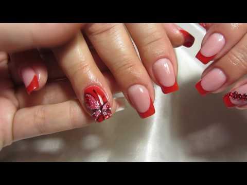Красный френч, Бабочка на ногтях, Swarovski, Swarovski Pixie