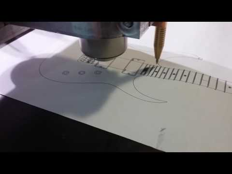 Printing Guitar On Paper With CNC