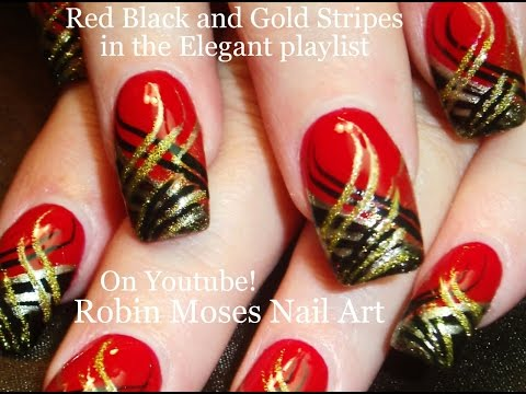 Nail Art | DIY Red Nails with Stripes! Black and Gold Nail Design tutorial