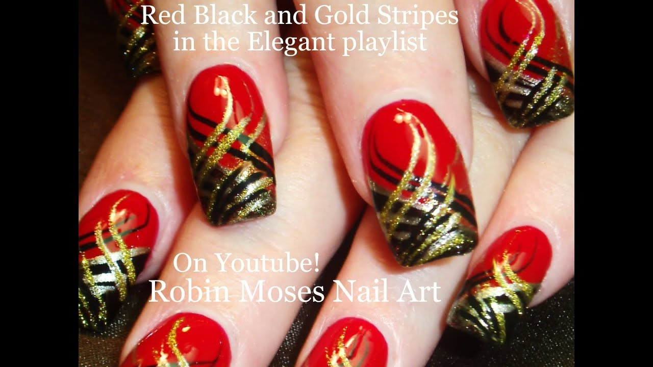 Nail Art  DIY Red Nails with Stripes! Black and Gold Nail Design