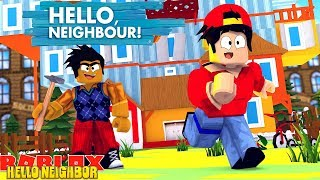 ROBLOX HELLO NEIGHBOR OBBY - DONUT TURNS INTO HELLO NEIGHBOR AND KILLS ROPO!!