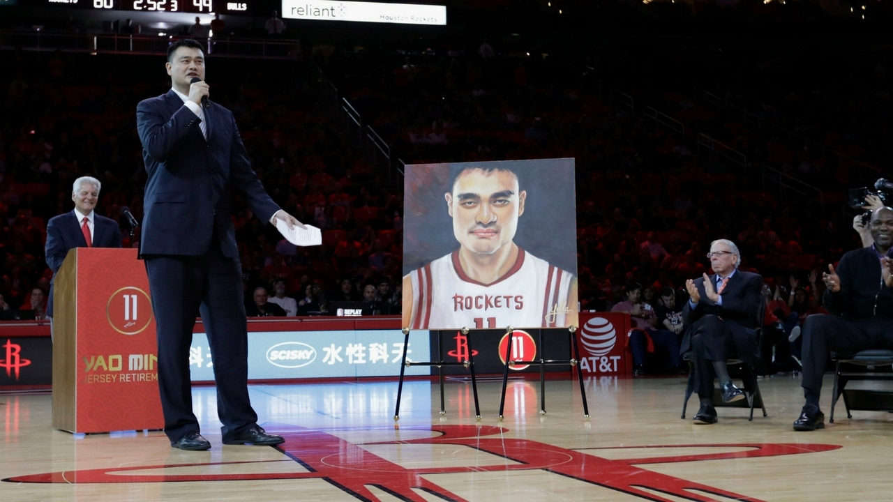 Yao Ming Houston Rockets Jersey Retirement  Full Ceremony