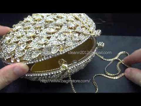 Egg-Shaped Golden Evening Clutch Bag Diamond Party Purse