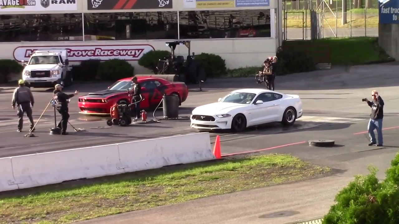 Supercharged 2018 FORD Mustang GT VS Dodge Demon Camaro ...
