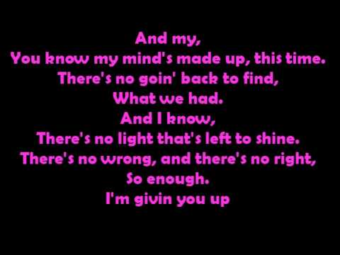Miley Cyrus - Giving you up (karaoke/instrumental) FULL 4 min.