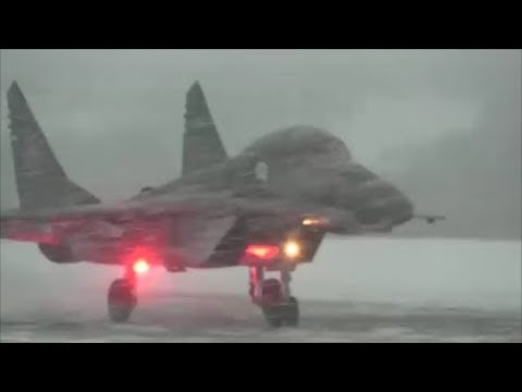 Russian Aviation Of The Pacific Fleet Su-35 & Mig-29K In Difficult Arctic Weather Conditions.