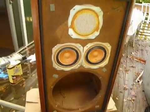 KLH speaker model 5 five rebuild part 3  Restoring cabinets    YouTube. Restoring Old Speaker Cabinets. Home Design Ideas