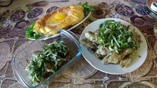 Два вкуснейших блюда кавказской кухни: Хачапури по-Аджарски и люля-кебаб.