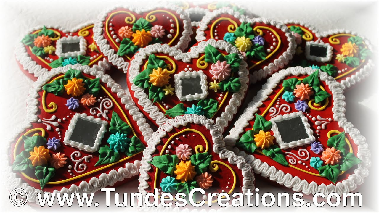 Traditional Hungarian Red Gingerbread Hearts With Mirrors