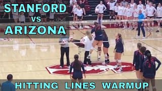 Stanford vs Arizona Women's Volleyball HITTING LINES warmup (9/29/17)