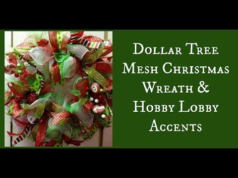 Dollar Tree Mesh Christmas Wreath & Hobby Lobby Accents