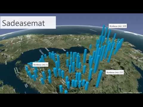 Ilmatieteen laitoksen havaintoasemat Power Map animaationa