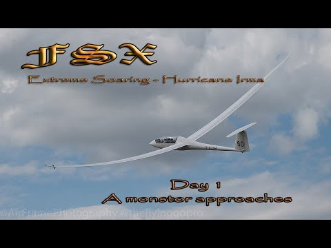 fsx soaring hurricane irma in glider real world weather day