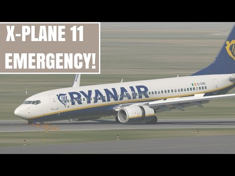X-Plane 11 | B737 crash landing without nose gear!