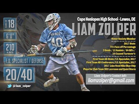 Liam Zolper 2017 Highlights, Cape Henlopen High School