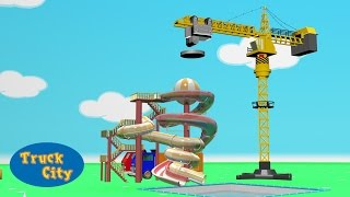 Truck City | Crane builds the Swimming Pool & the Giant Slide | Cartoon for children