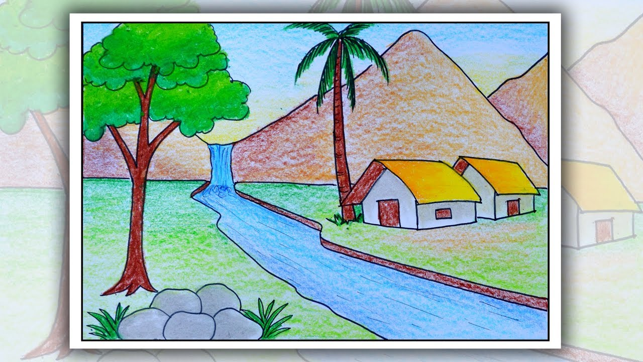 How To Draw Simple Scenery For Beginners Village Scenery Drawing Youtube