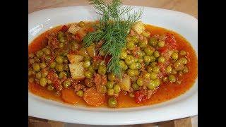 Меню на ужин. Горох с фаршем и овощами. Макароны в томатном соусе. Долма и семизоту.