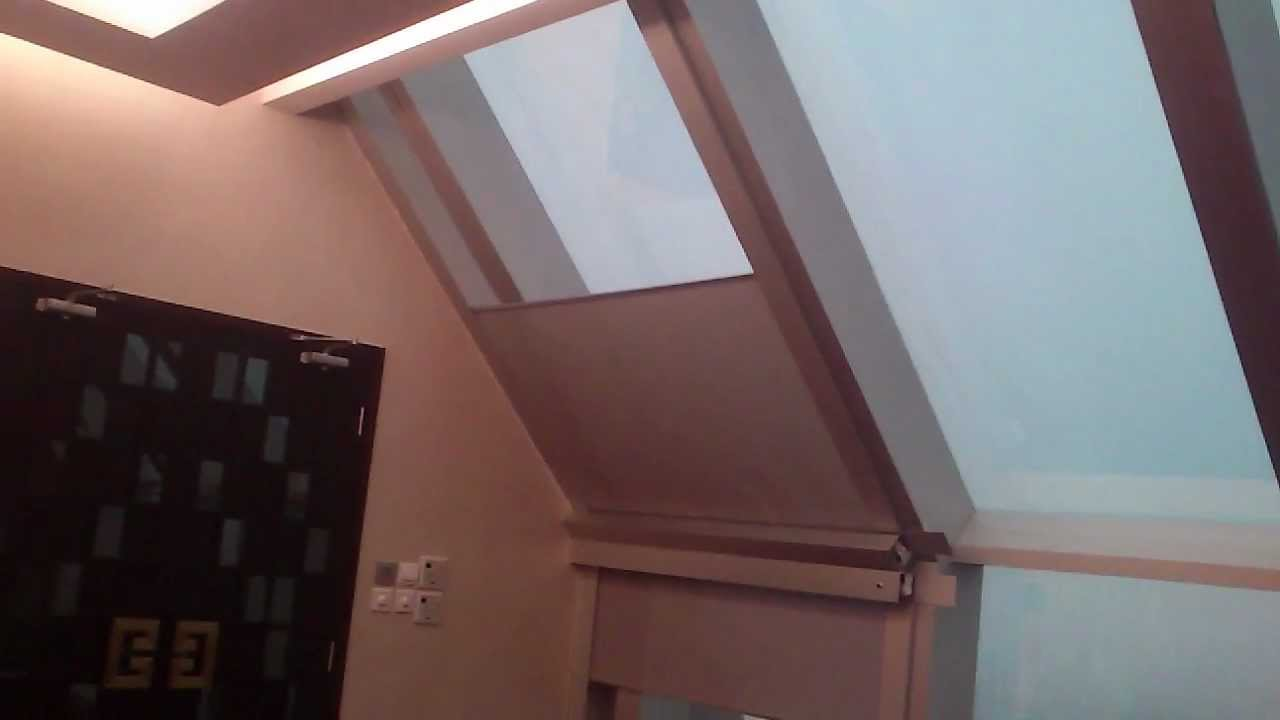 Skylight motorized roller blinds spring return electric for Motorized blinds for skylights