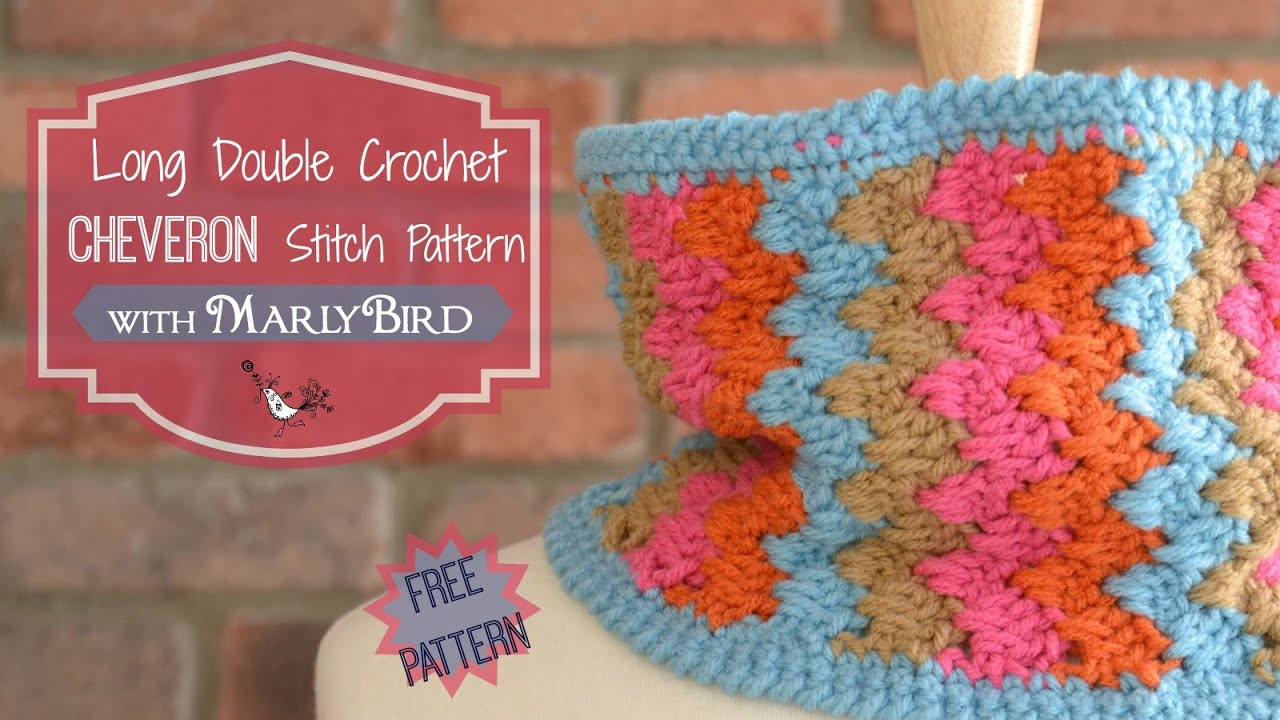 How to Crochet Long Double Crochet Chevron Stitch Pattern - YouTube