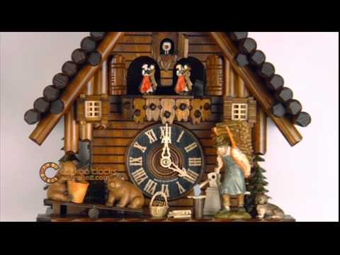 8 day black forest cuckoo clock with dancers log cabin and bears on seesaw 16 inches tall youtube - Black Forest Cuckoo Clocks