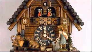 8 Day Black Forest Cuckoo Clock With Dancers Log Cabin And Bears On Seesaw 16 Inches Tall