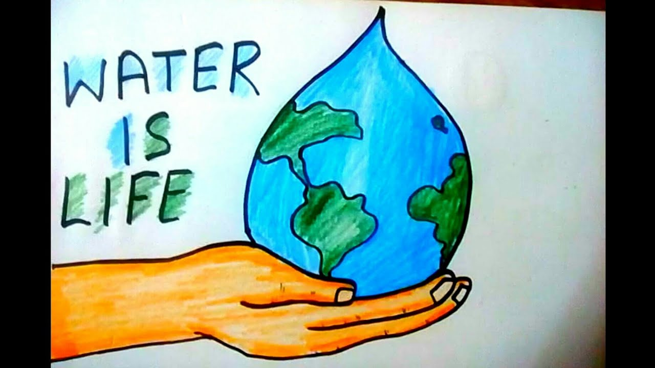 Drawing on save water save life step by step
