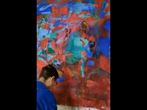 Peinture abstraite où apparait un esprit de la nature