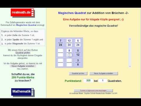 Brüche addieren - Magisches Quadrat auf realmath.de - YouTube
