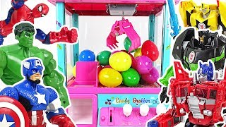 Marvel vs Transformers! Hulk & Optimus Prime's Surprise eggs claw machine battle! - DuDuPopTOY