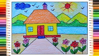 How to draw simple scenery, Village scenery drawing for kids, Village drawing