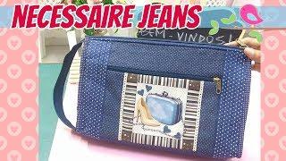 Nécessaire Jeans com 2 Bolsos Externos