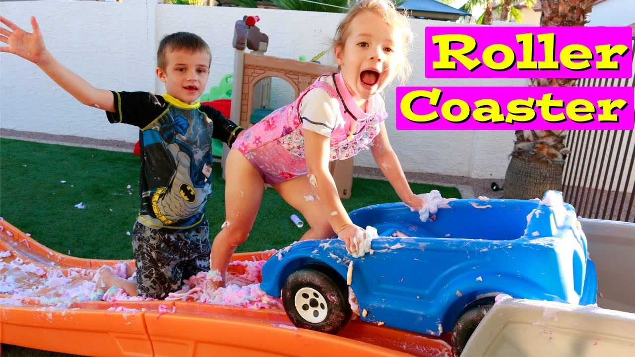STEP 2 ROLLER COASTER Kids Backyard Amusement Park Compilation ROLLERCOASTER  Family Fun U0026 Foam Soap