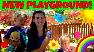 😳Wow! Kids Found Chameleon At The Playground!🦖Skye & Caden Enjoy Playground With Baby Alive Dolls!