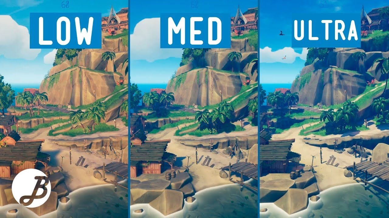 Sea Of Thieves Graphics Comparison Pc Low Vs Mid Ultra