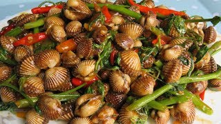 Stir-Fried Blood Cockles (Clams) With Tamarind || Blood Cockles Recipe || Eating Blood Clams