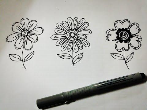 Learn to draw, doodle flowers /หัดวาดรูปดอกไม้ ^_^