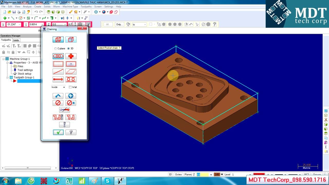 mastercam training 2d mill toolpath pocket contour youtube rh youtube com