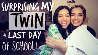surprising my twin with a gift last day of school vlog
