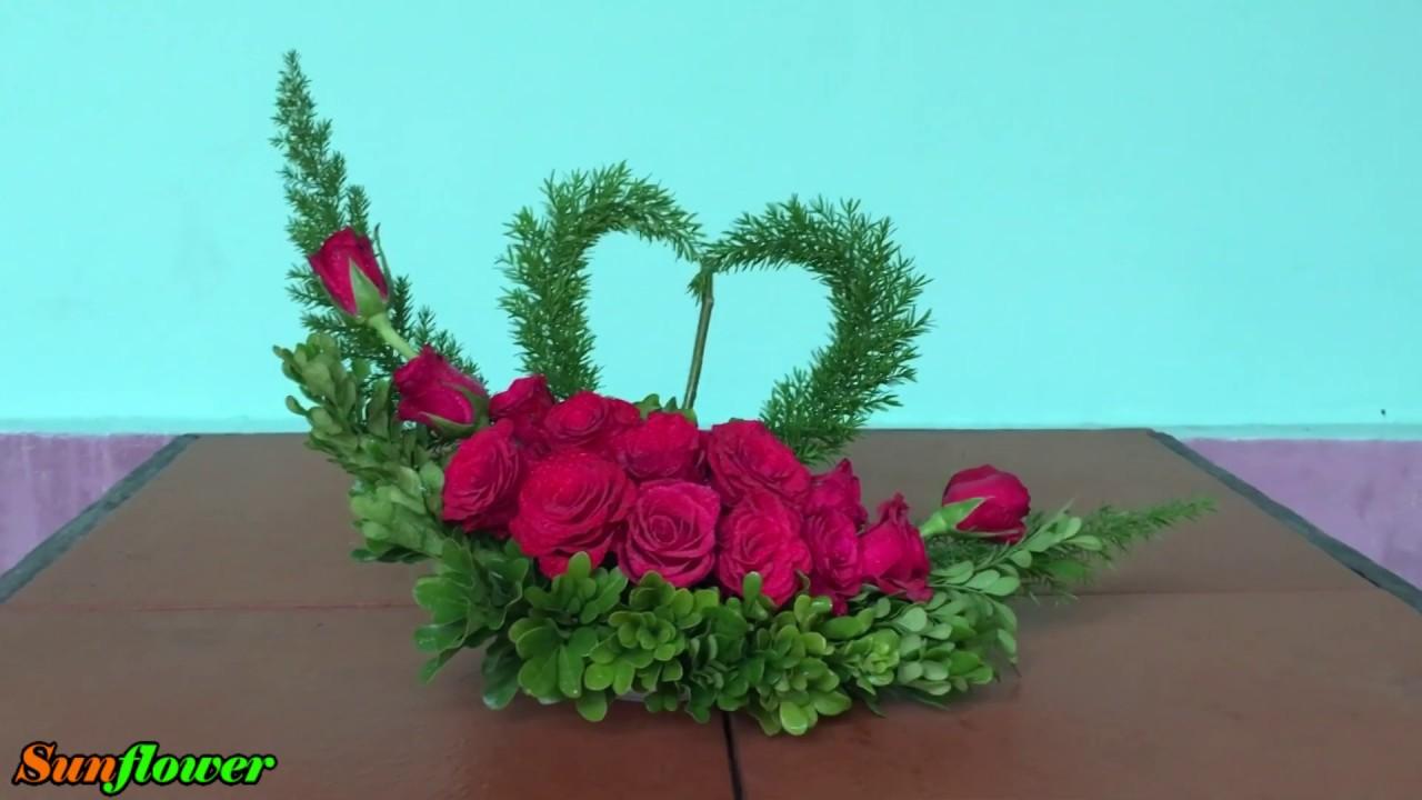 Cắm Hoa Để Bàn Đơn Giản – Hoa Trái Tim #3