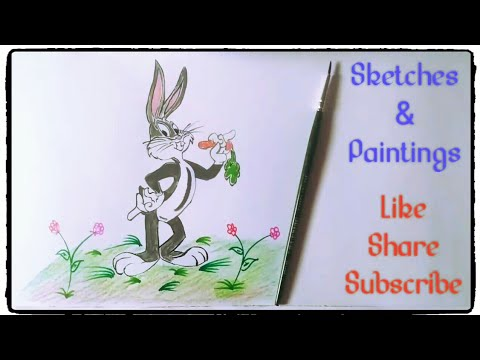 How to draw and paint Bugs Bunny cartoon character drawings Tutorials in simple easy steps for kids.