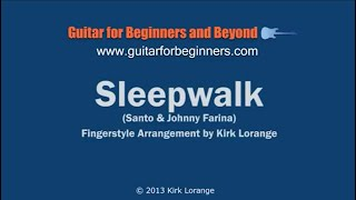 Sleepwalk - A Fingerstyle Guitar Lesson with Virtual Fretboard.