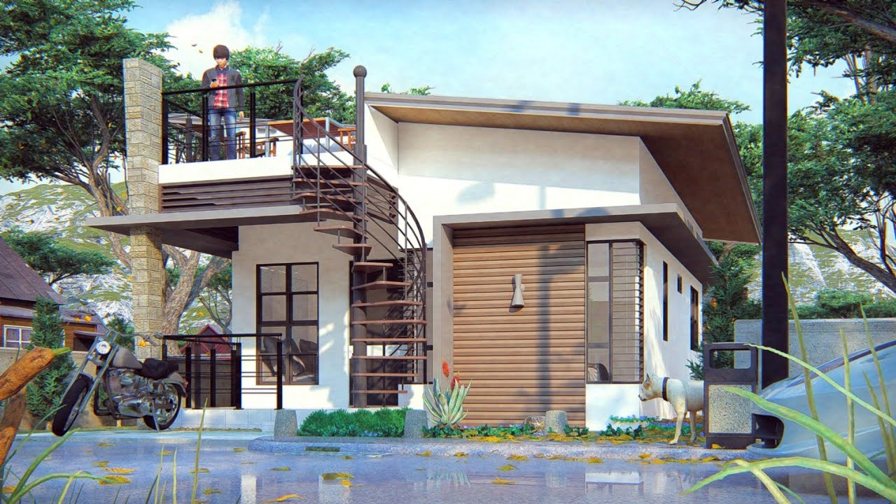 Small House Design 6x8 Meters With Roof Deck Youtube