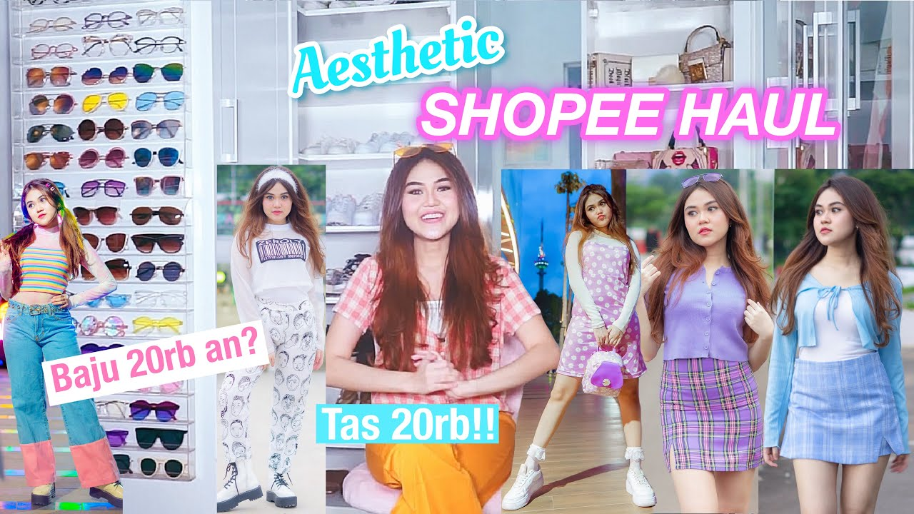 BAJU AESTHETIC MURAH!! Harga 20 Ribuan? (SHOPEE HAUL+ TRY ON)