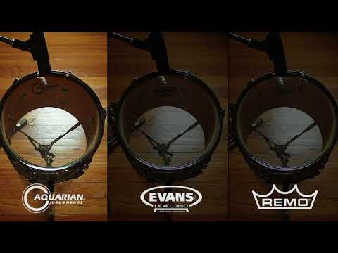 Drumtune PRO - Comparing Aquarian, Evans, Remo drum head sounds at same tuning