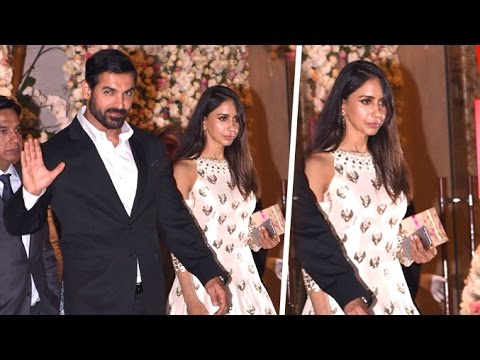 John Abraham With His Beautiful Wife Priya Runchal At Ambani's Party 2016