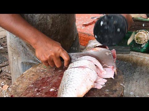 Fish Cutting Skills - In Street Fish Market In Malaysia