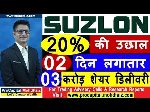 SUZLON 20 % की उछाल 02 दिन लगातार   03 करोड़ शेयर डिलीवरी | Latest Share Market News In Hindi