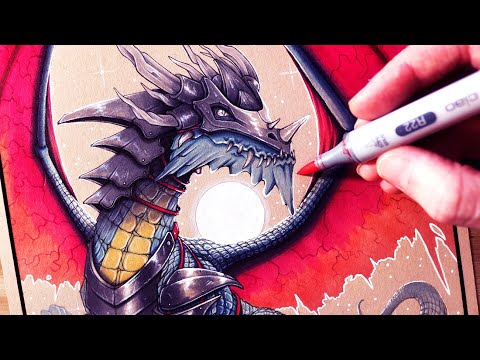 Let's Draw An ARMOURED DRAGON - FANTASY ART